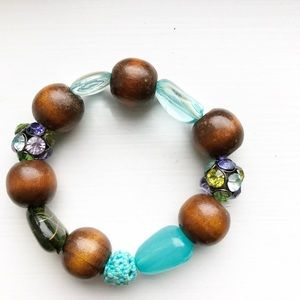 Chunky brown & turquoise beaded stretch bracelet